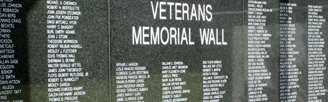 Veteran's Memorial Wall in Oak Knoll section